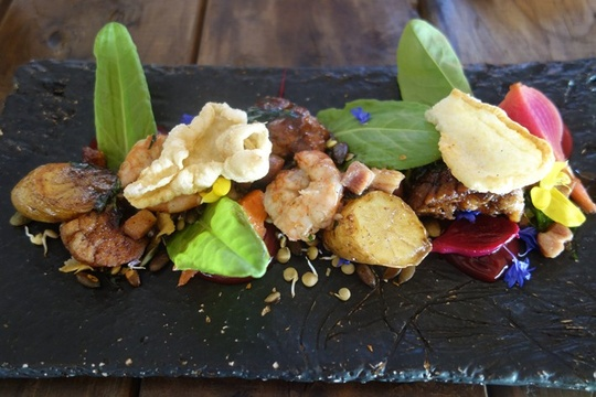 Foliage Restaurant Franschhoek - Prawns and Sweet bread (credit Andy Hayler)