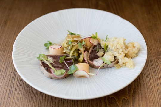 Ryans Kitchen - Seared Tuna, fennel, Kimchi, lemon and Rooibos jelly (credit Eat Out)